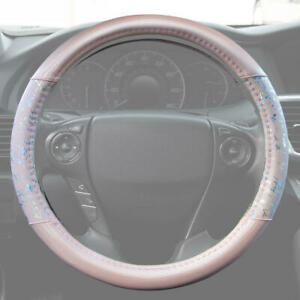 Leather Soft Grip Steering Wheel Cover Pink Shiny Metallic Glitter Gold Silver