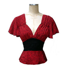 TRASHY DIVA CARRIE RED HEARTS BLOUSE novelty 1940s print vintage retro valentine