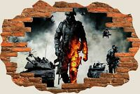 3D Hole in Wall Army Troops & Tanks View Wall Stickers Film Decal Wallpaper 343
