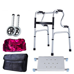Elderly Rollator Walker Medical Seat Folding Drive Chair 4 Feets Crutch 2 Wheels