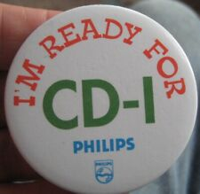 PHILIPS CD-I compact disc player vintage 1990 promotional tin pin BADGE