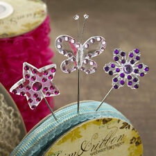3 acrylic Webster's Pages Cameos Pins Butterfly, flower & star