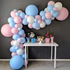 Blue Pink Balloons Pearl Baloons Arch Pastel Macaron White Ballon Birthday Decor