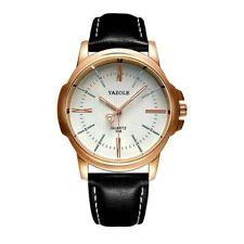Yazole Men Big 44mm Steel rose gold case Analog Quartz Wrist watch Black white