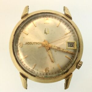 VINTAGE c.1970s BULOVA ACCUTRON 14k Gold-Filled Date 2181 MOVEMENT- UNTESTED