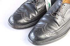 FLORSHEIM IMPERIAL Sz 11 C Black Wingtip 5 Nail V-Cleat Oxfords Dress Shoes