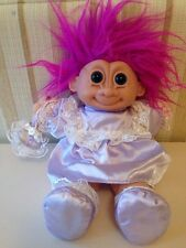 "Large 12"" Vintage Russ Troll Doll Soft Body 90s Purple Dress Pink Hair Big eyes"