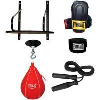 6-Piece Boxing Speed Bag Set Kit Platform Swivel Gloves Hand Wraps Drum Box