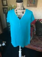 C&A YESSICA Europe Ladies Turquoise V Neck Cap Sleeve Blouse Shirt Top UK 18 NEW