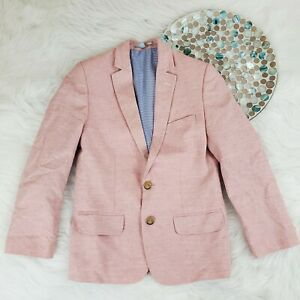 Club Class Boys Blazer Size 8 Pink Woven 2-Button Casual Sport Jacket