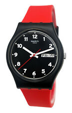 Swatch GB754 Red Grin Black Analog Day Date Dial Silicone Rubber Band Watch New