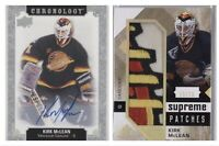 18-19 Chronology Kirk McLean Auto & 16-17 SP Game Used Supreme Patches 15/15