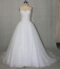 Sissi Brautkleider Hochzeitskleid Glitzer Tüll Perlen Spitze Schulterfrei Ivory
