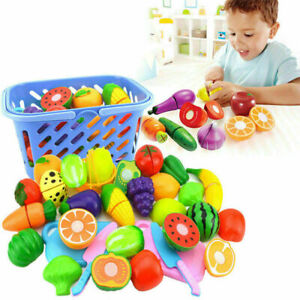 Kids Child Pretend Role Play Kitchen Fruit Vegetable Food Toy Cutting Set