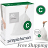 simplehuman Code C Custom Fit Liners, Trash Bags, 10-12 Liter / 2.6-3 Gallon
