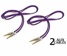 2 x PIECES - iPod to Car Stereo AUX / Auxillary Wire Cord 3Ft 3.5mm PURPLE Cable
