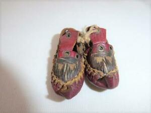 PAIR ANTIQUE MINIATURE HANDMADE RED LEATHER MOCCASIN  SHOES DOLL SHOES
