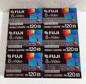 6 Fuji 8mm Hi8 Metal Videocassette Tape P6-120 Double Coating