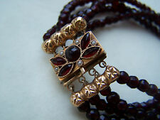 BEAUTIFUL VICTORIAN 15CT NOT 18CT GOLD GARNET & SEED PEARLS BRACELET FREE P&P