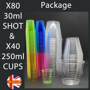 Plastic Drinking Shot Kit 80 Regular Shots - 40 Clear Cups House Party Drink Cup