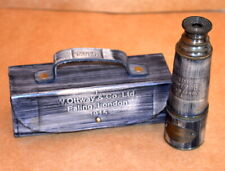 """ANTIQUE VINTAGE MARITIME 15"""" OTTWAY BRASS TELESCOPE WITH LEATHER BOX-ART-1915"""