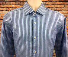 Bugatchi Uomo Mens 17.5 36 37 Dress Shirt Button Up LS Striped Blue Flip Cuff