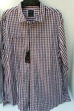 A/X Armani Exchange Men Black Red Dress Shirt White Check Print SLIM XXL TTG NEW