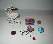 Vintage DOLLHOUSE LOT - Miniature BABY CARRIAGE & TOYS Accessory Collection