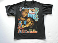 Vintage 90s Tupac Biggie Notorious BIG Rap Hip Hop T-Shirt Wanted Makaveli AA513