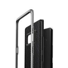 Note 8 Case-Dual Layer Ultra Slim Shock-Proof CARBON FIBER Black w/Silver Bumper