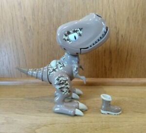 Zoomer Chomplingz Sandstorm Chomping T-Rex Dinosaur Tan with Boot preowned Nice!