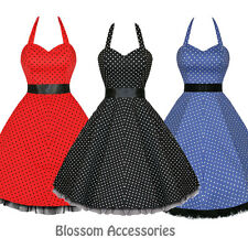 RKH10 Hearts & Roses Polka Dots Rockabilly Dress Pin Up Vintage 50s Prom Swing