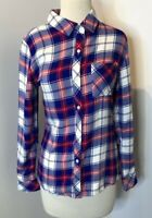 Rails Hunter Blue/Red/White Plaid Button up Flannel Shirt Size Small