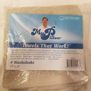 Set Of 4 My Pillow Beige That Work Rectangular Wash Cloth Towels Size 13X13