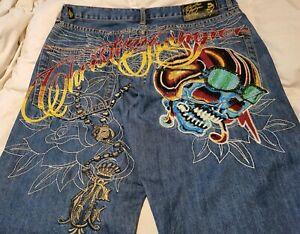 Men Ed hardy jeans SIZE 32 Christian Audigier Rhinestone Rare