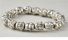 Tibet Silver Chinese Old Handwork Carving Buddha Heard Exorcism Bracelet