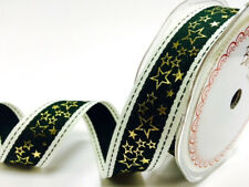 25mm x 2m Bertie's Bows Green Stitched Edge with Gold Metallic Star Print ribbon