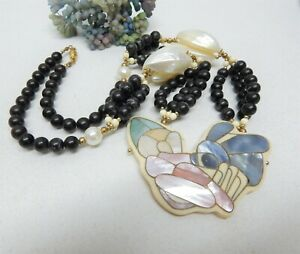 """LEE SANDS STONE BEAD MOTHER OF PEARL INLAY FLOWER BOUQUET PENDANT NECKLACE 24"""""""