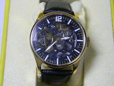 Invicta 12405 Vintage Mechanical Black Skeleton Dial Leather Strap Men's Watch