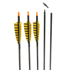 """32"""" Archery Hunting Carbon Arrow Turkey Fletching Feathers Recurve Longbow 6Pack"""