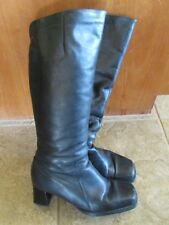 Janita Vintage Tall Knee High Black Leather Boots Size 40 Finland Zip Up Fashion