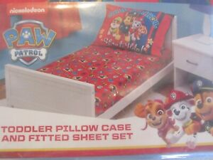 PAW PATROL Toddler Fitted Sheet and Pillow Case Set, Red, NEW!