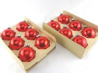Set of Twelve Red Vintage Christmas Ornaments Mid Century Modern/Shabby Chic/MCM