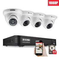 ZOSI 8CH 1080P HD DVR 1TB HDD 2MP Outdoor Dome CCTV Home Security Camera System