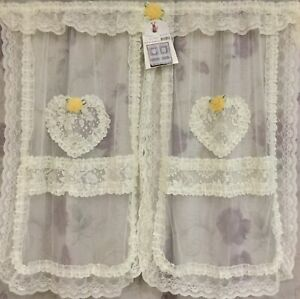 Door Hallway Small Window Curtain Decor Drape Lace Shear Yellow Flowers Heart