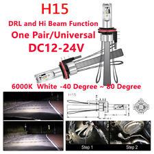 2Pcs Convertible Car H15 LED Headlight Bulbs Canbus Kit 6000K 40W Lighting Lamps