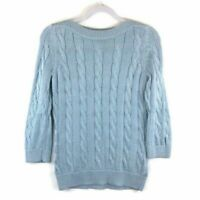 346 Brooks Brothers Sweater Pullover Cable Knit Blue Womens Size S
