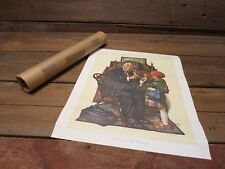"Norman Rockwell 1972 The Doctor And The Doll Lithograph Canvas Print 16"" X 13"""