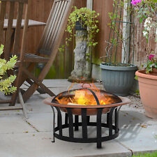 """30"""" Round Firepit Outdoor Patio Heater with Poker, Mesh Cover,Grate"""