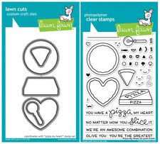 Lawn Fawn Stamp+Cuts Die PIZZA MY HEART LF1018 & LF1019 Love Slice Awesome Olive
